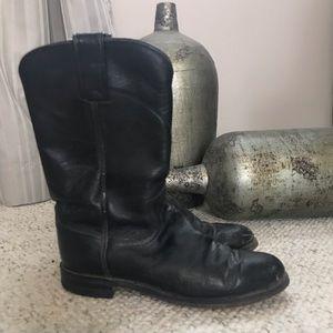 Justin Black Roper Cowboy Boots